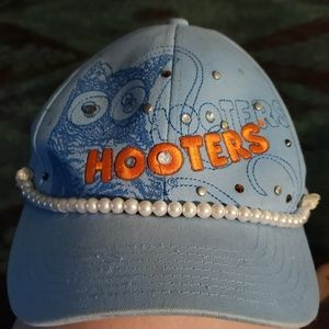 Hooters hat hand embellished...Pearls/stones
